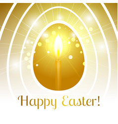 Happy easter gold egg with candle emits light rays vector