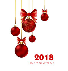 happy new year 2018 christmas ball and bow red vector image