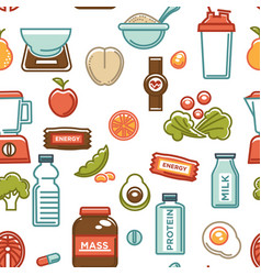 healthy lifestyle and fitness food nutrition and vector image