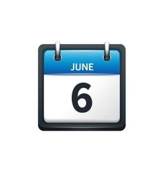 June 6 Calendar icon flat vector image