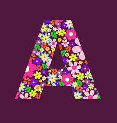Letter of beautiful flowers a vector