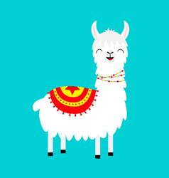llama alpaca childish baby collection cute vector image