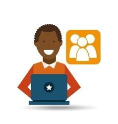 Man afroamerican using laptop gro media icon vector