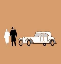 man and woman are standing next to a retro car vector image