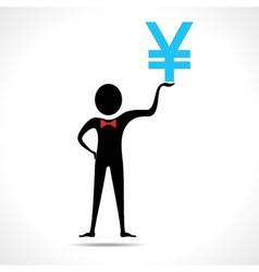 Man holding yen symbol vector