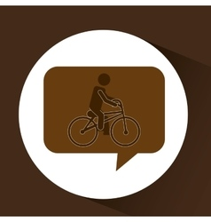 Man ridding bike vintage icon vector