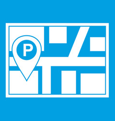 map with car parking pointer icon white vector image