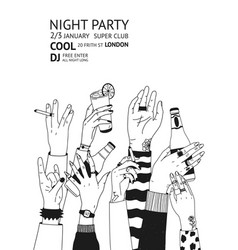 monochrome flyer template for night party with vector image