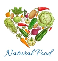 Natural vegetables food in heart symbol vector image