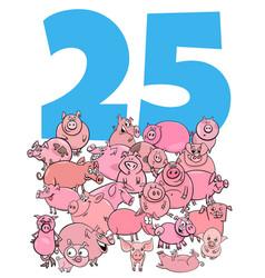 Number twenty five and cartoon pigs group vector