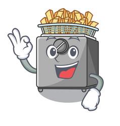 Okay character deep fryer on restaurant kitchen vector