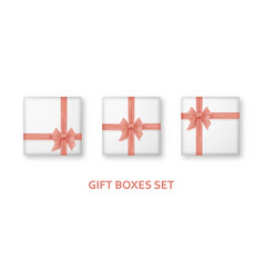 pastel pink gift boxes with ribbons and bows vector image