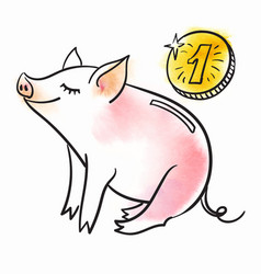 piggy bank template for greeting card black and vector image
