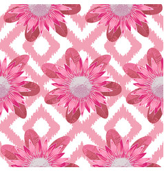 Pink protea boho seamless pattern vector