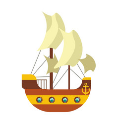 pirates ship with sail canvas deck and anchor at vector image