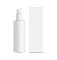 Plastic cosmetic bottle with pump and box vector