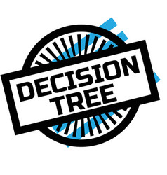 Print decision tree stamp on white vector