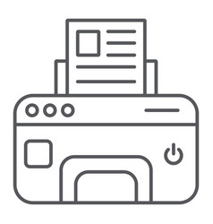 printer thin line icon device and print fax sign vector image