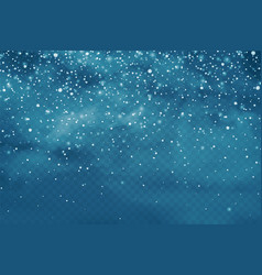 Realistic falling snow with snowflakes and clouds vector