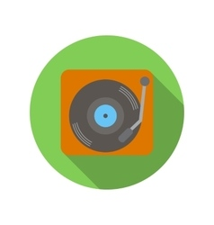 Retro record player flat icon vector image