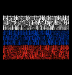 Russian flag collage of medieval sword objects vector