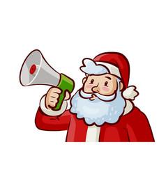 Santa claus with loudspeaker in hand christmas vector