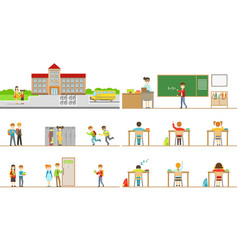 School building exterior and kids in its corridors vector