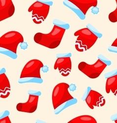 Seamless christmas pattern part santa costume vector
