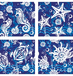 Seampless patterns with sea symbols vector