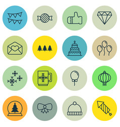 Set of 16 new year icons includes greeting email vector