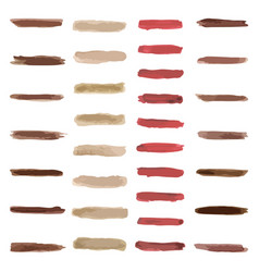 Set of brown paint water color brushes stroke vector