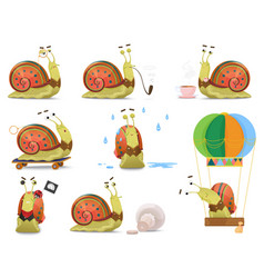 Set of cute gentleman snail in waistcoat vector