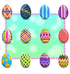 Set of easter eggs on background1 vector image