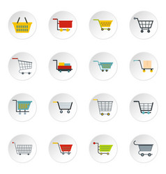 Shopping cart icons set in flat style vector