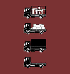 silhouette small trucks with different loads vector image