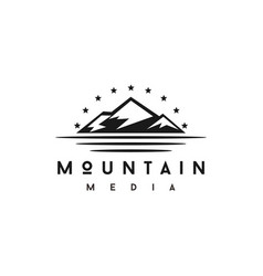 simple mountain with star logo design vector image