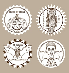 Sketch Halloween label vector