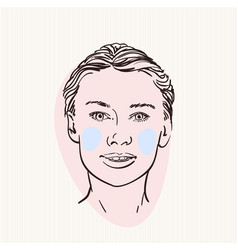 Sketch pretty woman head with colored cheeks vector