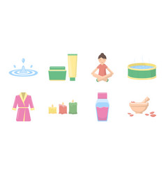 Spa salon equipment icons in set collection for vector