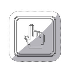 sticker monochrome silhouette square button with vector image
