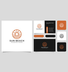sun beach logo design with business card vector image