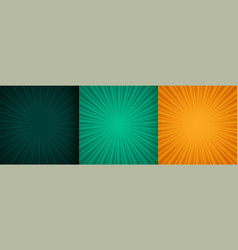 sun burst zoom rays background set three vector image