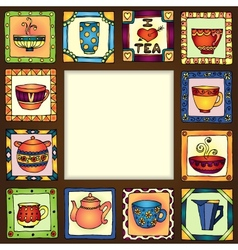Tea cups and pots frame hand drawn design EPS10 vector image