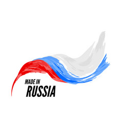 the flag russia with inscription is made in vector image