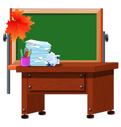 The teachers desk and chalkboard with space for vector