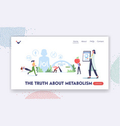 Truth about metabolism landing page template tiny vector