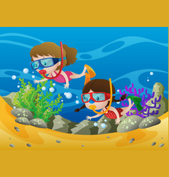 Two girls diving under the ocean vector