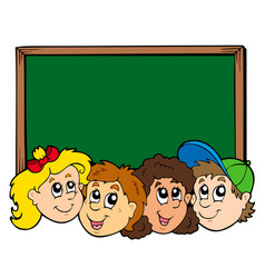 various kids faces with blackboard vector image