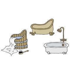 Vintage bathtubs vector