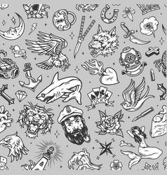 Vintage marine seamless pattern vector